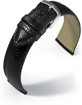 Eulit - Genuine lizard - black - leather strap