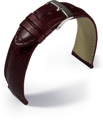 Eulit - Louisiana crocodile look - bordeaux - leather strap