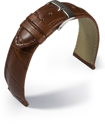 Eulit - Louisiana crocodile look - medium brown - leather strap