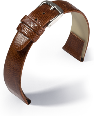 Eulit - Teju lizard with clip - golden brown - leather strap