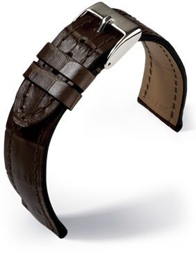Eulux - Alligator Embossing - dark brown - leather strap