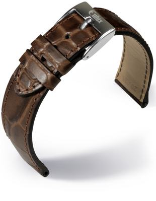 Eulux - Crocodile print - medium brown - leather strap