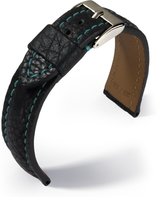 Eulux - Imperator - black with blue stitching- leather strap
