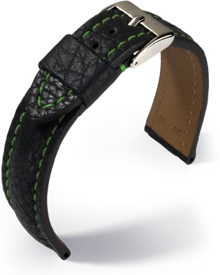 Eulux - Imperator - black with green stitching- leather strap