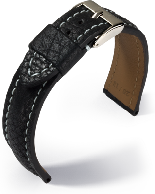 Eulux - Imperator - black with grey stitching- leather strap