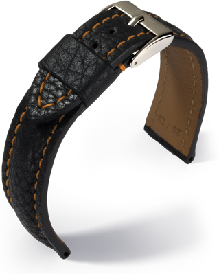 Eulux - Imperator - black with orange stitching- leather strap