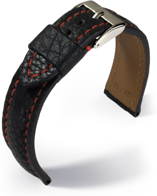 Eulux - Imperator - black with red stitching- leather strap
