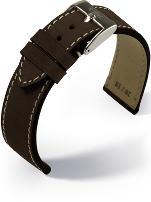 Eulux - Vintage nubuk - dark brown - leather strap