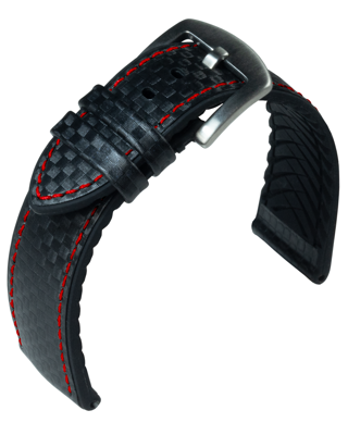 EUTec- Carbon - black / red - leather/rubber strap