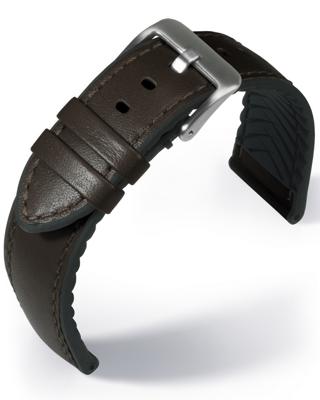 EUTec- Waterproof - dark brown - leather/rubber strap