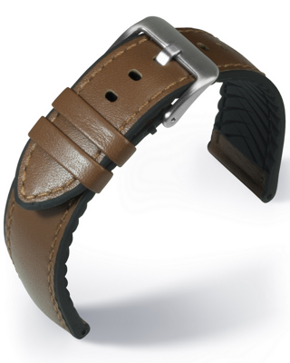 EUTec- Waterproof - medium brown - leather/rubber strap