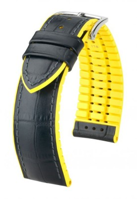 Hirsch Andy - black / yellow - rubber / leather strap