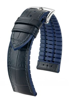 Hirsch Andy - black / blue - rubber / leather strap
