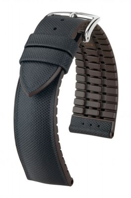 Hirsch Arne - black / brown - rubber / leather strap