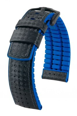 Hirsch Ayrton - black / blue - rubber / leather strap