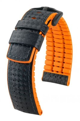 Hirsch Ayrton - black / orange - rubber /  leather strap