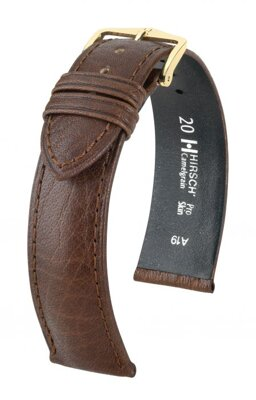 Hirsch Camelgrain - dark brown - leather strap