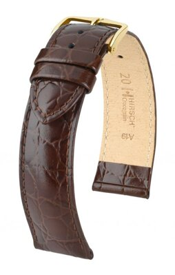 Hirsch Crocograin - brown - leather strap