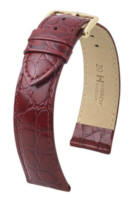 Hirsch Crocograin - burgundy - leather strap