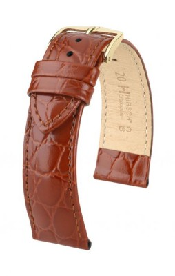 Hirsch Crocograin - golden brown - leather strap