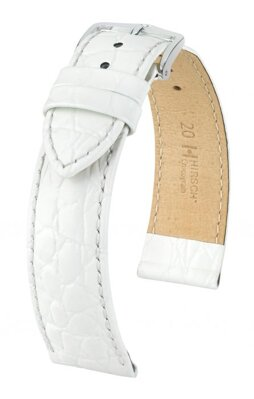 Hirsch Crocograin - white - leather strap