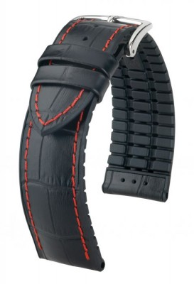 Hirsch George - black / red - rubber / leather strap