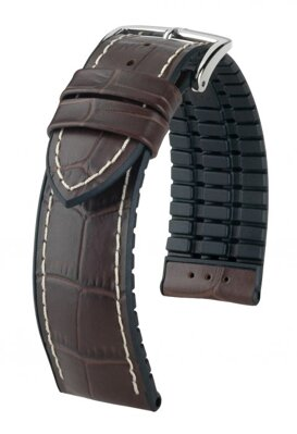 Hirsch George - brown / white - rubber / leather strap