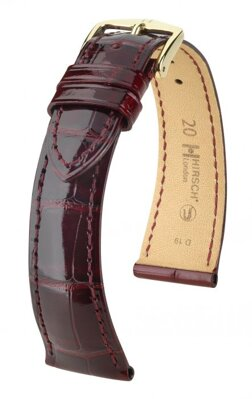 Hirsch London - burgundy shiny alligator - leather strap