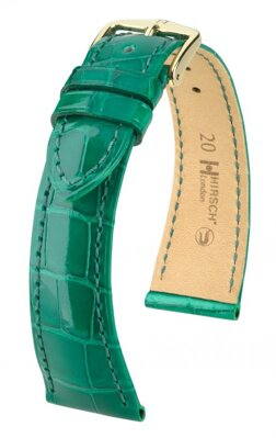 Hirsch London - green shiny alligator - leather strap