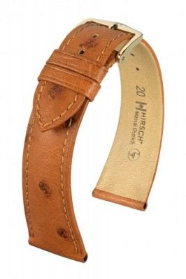 Hirsch Massai Ostrich - golden brown - leather strap