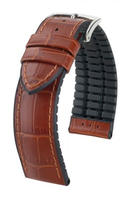 Hirsch Paul - golden brown - rubber / leather strap