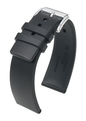 Hirsch Pure - black - rubber strap