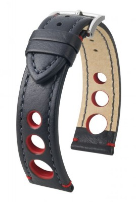 Hirsch Rally - black - red - leather strap