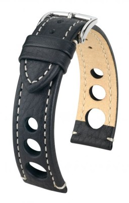 Hirsch Rally - black - white stitching - leather strap