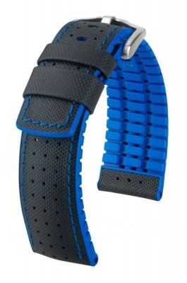 Hirsch Robby - black - blue - rubber / leather strap