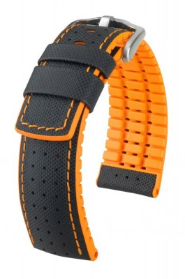 Hirsch Robby - black - orange - rubber / leather strap