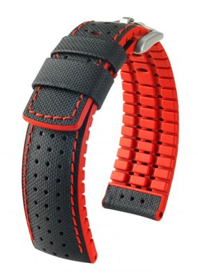 Hirsch Robby - black - red - rubber / leather strap