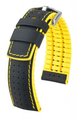 Hirsch Robby - black - yellow - rubber / leather strap
