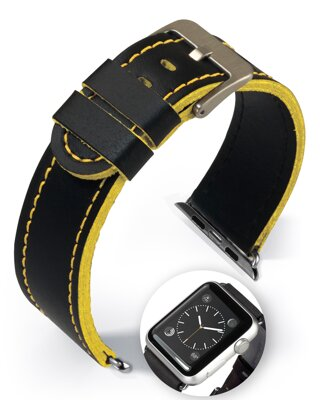 Dallas - Smart Apple Watch - yellow - leather strap
