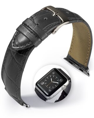 Denver - Smart Apple Watch - grey - leather strap