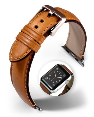Miami - Smart Apple Watch - golden brown - leather strap