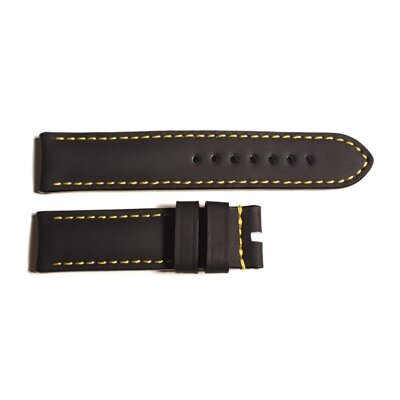 Steinhart Rubber strap black for Ocean 2, size M, yellow stitching