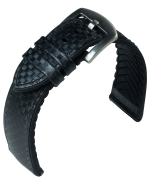 EUTec- Carbon - black - leather/rubber strap