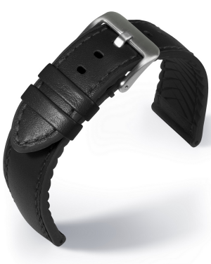 EUTec- Waterproof - black - leather/rubber strap