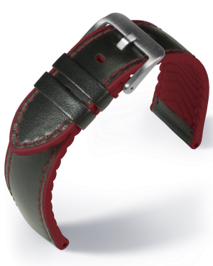EUTec- Waterproof - red - leather/rubber strap