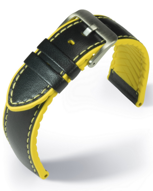 EUTec- Waterproof - yellow - leather/rubber strap